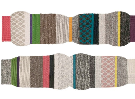 GAN rugs - look like big knitted scarves - from the Mangas collection (in Spanish meaning sleeve)