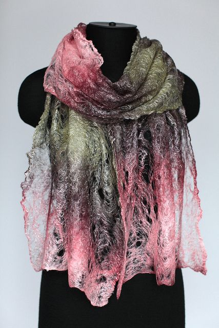 Cobweb Felted Scarf Wrap 50% superfine merino, 50% tencel