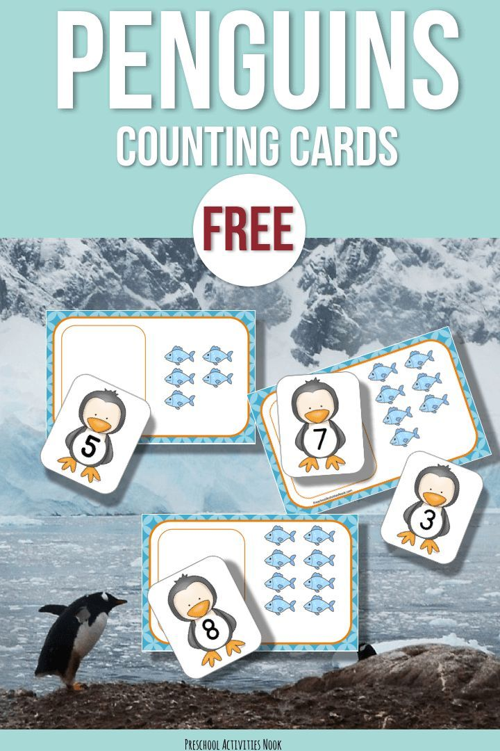 """We love all things """"Penguin"""" in the winter! This is a simple little counting printable to go with your Penguins theme or unit. To use, just print and cut out the cards and match the penguin to the mats! Even more fun is using little goldfish crackers as counters to use with these penguin number …Read more..."""