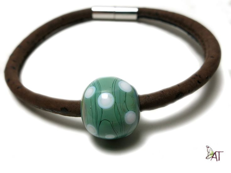 Armband LAMPWORK Kork handgefertigt von SilkArt-AntjeTopf