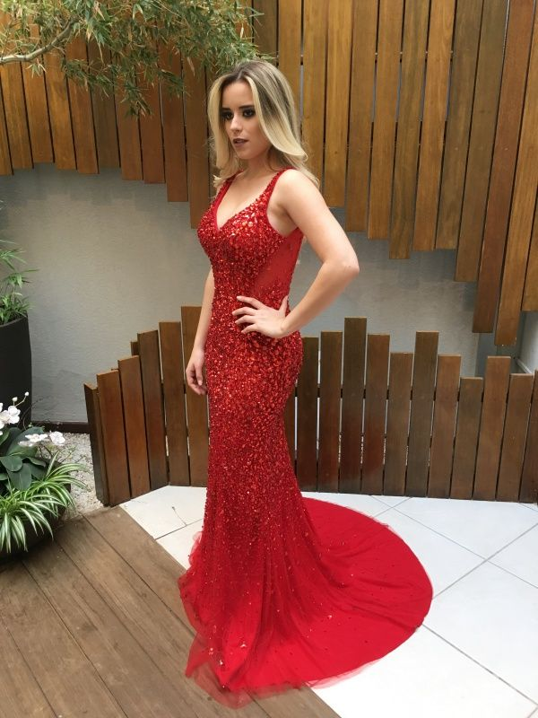 vestido de festa longo vermelho  madrinha ou formanda