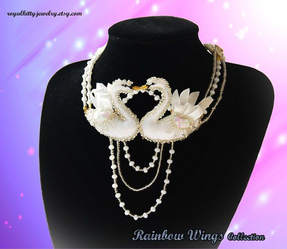 Swans in love necklace bridal jewelry white by RoyalKittyJewelry