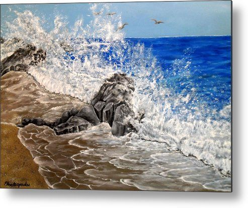 Metal Print,  nature,seascape,coastal,scene,ocean,waves,water,sandy,shore,beach,rock,crashing,breaking,splashing,rough,spray,lace,blue,impressive,scene,image,beautiful,fine,oil,painting,contemporary,scenic,modern,virtual,deviant,wall,art,awesome,cool,artistic,artwork,for,sale,home,office,decor,decoration,decorative,items,ideas