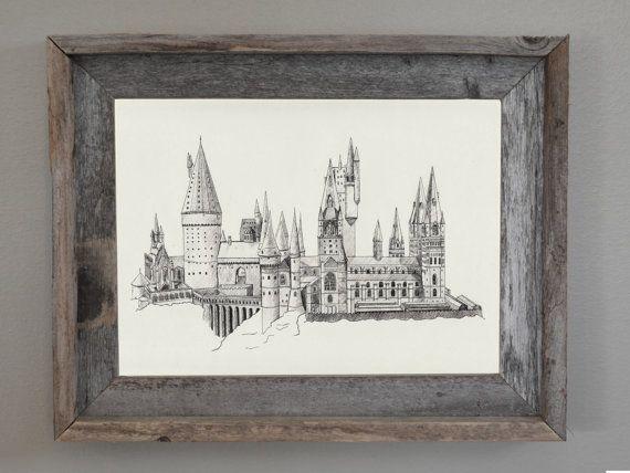 Display your love for Harry Potter with the Hogwarts Castle Print. This print is a classic black and white design of an original piece drawn and