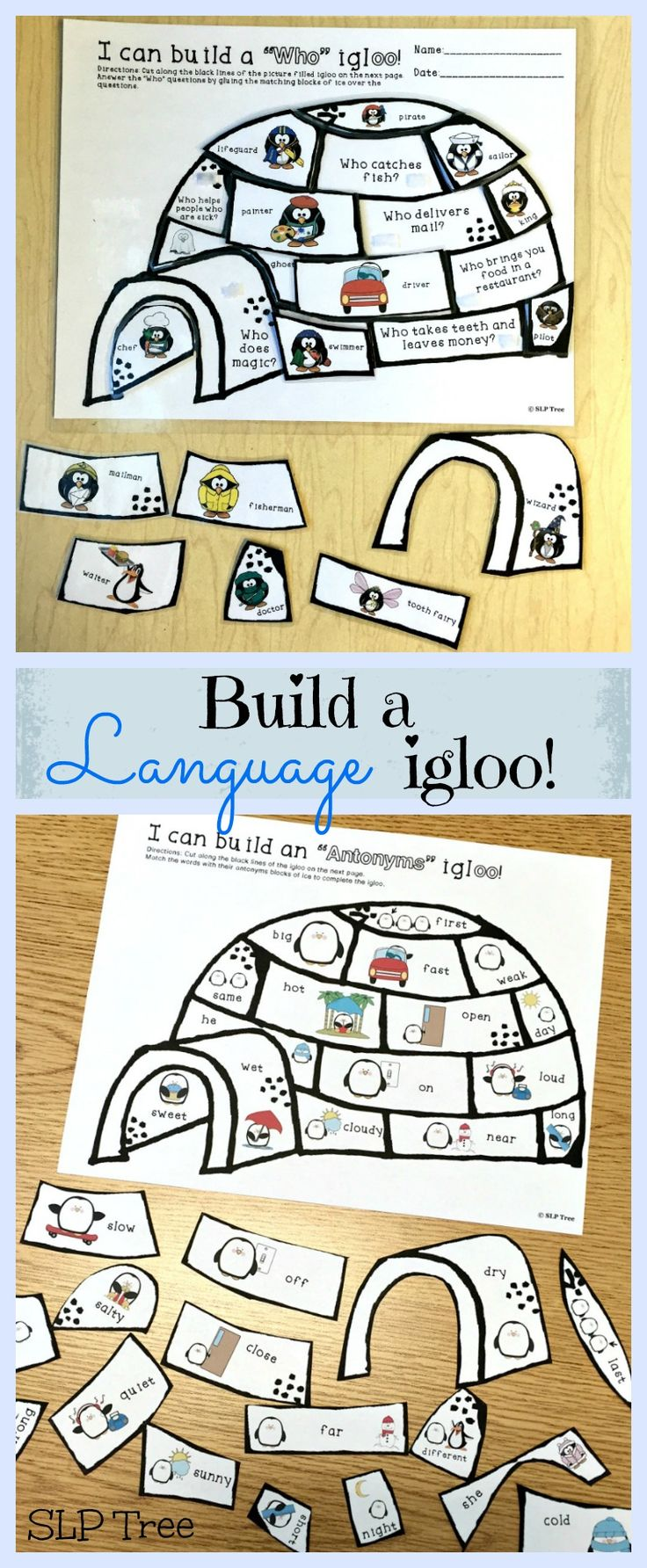 """Winter speech therapy! Build language igloos while practicing """"Wh""""-questions, regular and irregular past tense verbs, antonyms and synonyms, as well as multiple meaning words and homophones."""