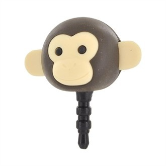 Universal 3.5mm Headphone Jack Stopple Charm - Dark Brown Monkey