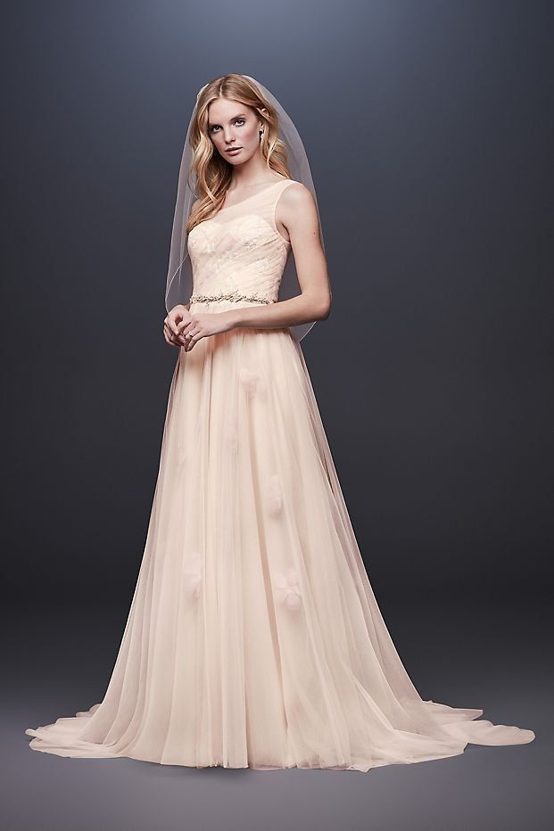 1c123b32 Pressed Flower Tulle A-Line Wedding Dress | One shoulder wedding dress by Melissa  Sweet available at David's Bridal