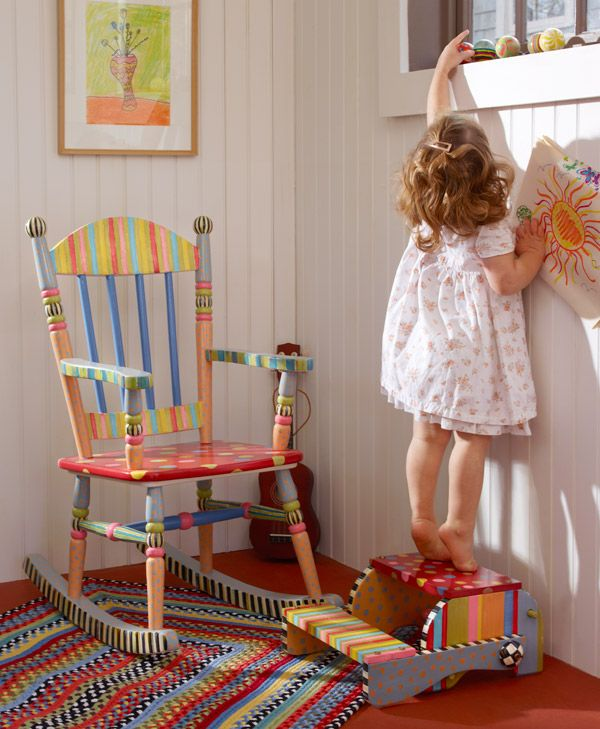 I love this new rocking chair design for children! This shot (and others to come) were taken in my Garden House.