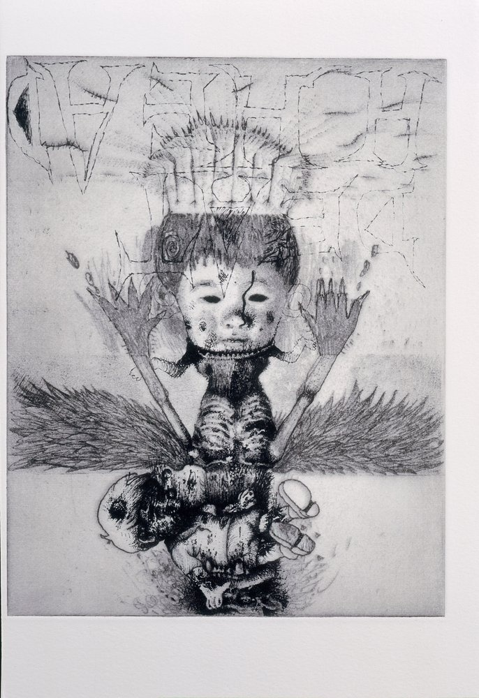 """Jake & Dinos Chapman Exquisite Corpse (Rotring Club) V, 2000-01""""medium"""">Etching with Rotring pen overdrawing """"dimensions"""" 46.5 x 38.5 cm"""