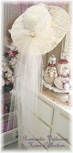 Romantic, Victorian handcrafted Wedding hat and decor.  Hat has pearl lace, roses, ribbons, swarovski crystals and pearl.