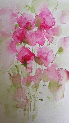 Watercolour Sweet Peas by Sarah Hogg