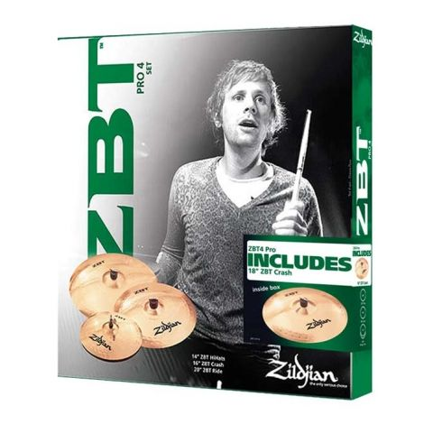 Zildjian ZBT 4 Pro Pack Cymbals. The pack includes a 20' ride, 16' crash, and 14' hi-hats. Sound grooves and round hammer strikes in a simple circular pattern on the top surface of ZBT cymbals magnify the basic sound of the distinctive ZBT alloy.