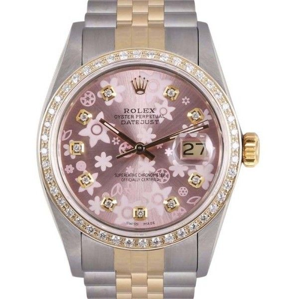 Pre-owned Rolex Datejust 18K Yellow Gold / Stainless Steel 36mm Unisex... ($4,499) ❤ liked on Polyvore featuring jewelry, watches, gold watches, gold wrist watch, unisex watches, pink gold watches and 18 karat gold watches