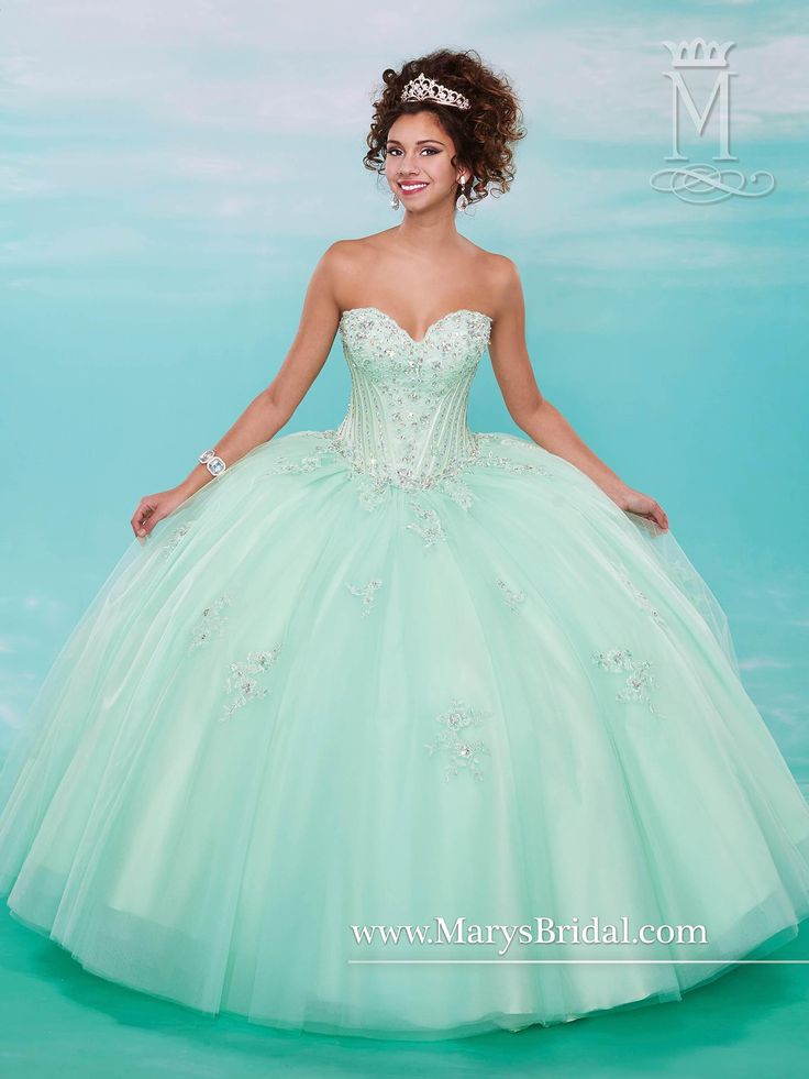Mary's Mint Quinceanera Dresses 2015 Winter Sweetheart Beaded Crystals Appliques…