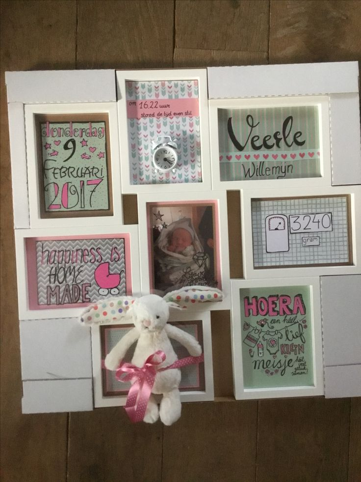 Kraamcadeautje voor een meisje, in de kleuren van het geboortekaartje. IKEA fotolijst met 8 vakjes, gevuld met de geboortedatum, geboortetijd, naam van de baby, babyfoto, geboortegewicht, een knuffeltje en dergelijke.