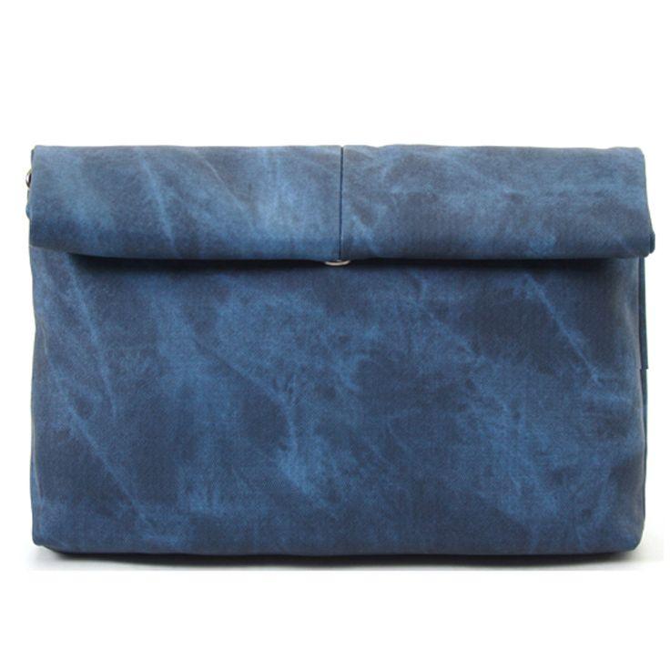 Skulllism Mens Leather Clutch Bag -S. Korea College Shoulder Bag for Men , Inner zip pocket ,Adjustable & Removable shoulder strap
