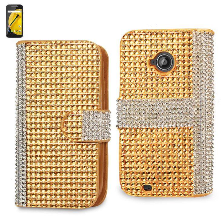 Reiko Diamond Flip Case For Motorola Moto E Lte (2Nd Generation) Motorola Xt1527-Xt1511-Xt1505-Xt1524 Golden