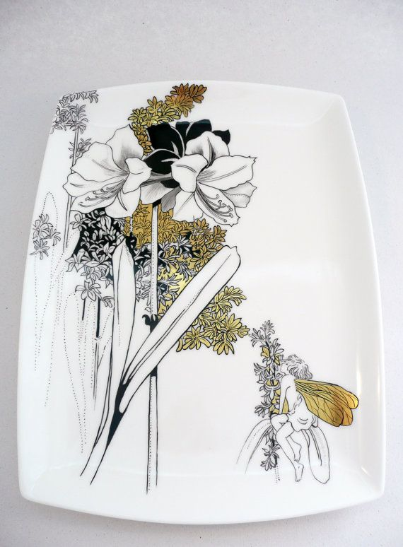 hand painted plate bone china plate black plate by variousstyles