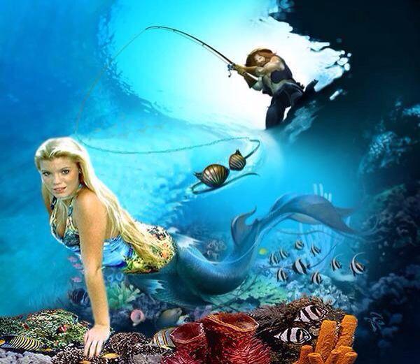 Blonde Hair Mermaid With Blue Tail Underwater Art: Blonde Hair Mermaid With Blue Tail Underwater Art