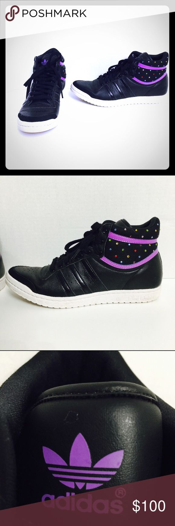 Adidas Sleek Series Black Purple Bling Hi Tops! Size7! Adidas Shoes Sneakers