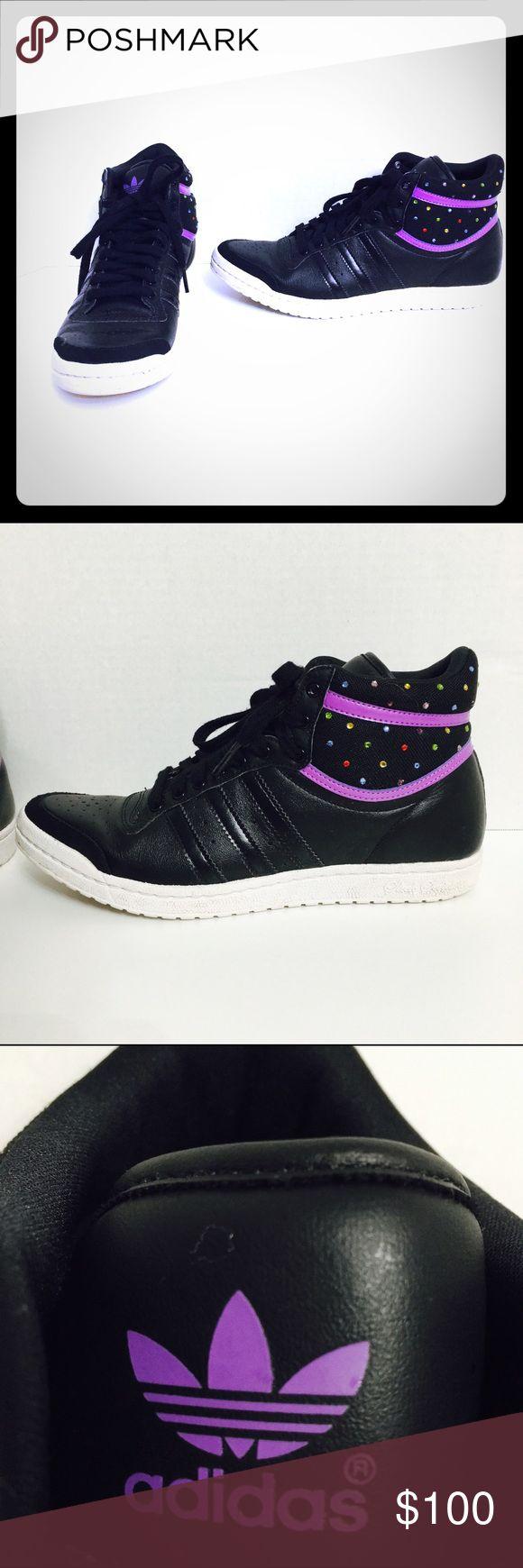 Adidas Sleek Series Black Purple Bling Hi Tops! Size7! Adidas Shoes Sneakers