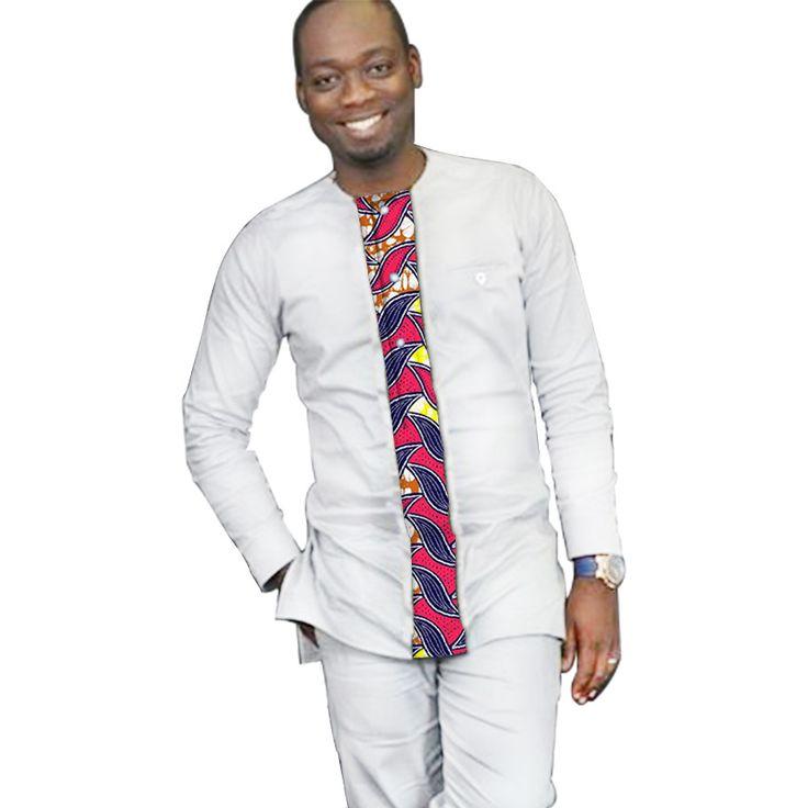 ==> [Free Shipping] Buy Best New African Print Men Kente T Shirt Design Africa Pattern White Dashiki Shirt Mens Fashion Custom African Traditional Shirt Online with LOWEST Price | 32786395264