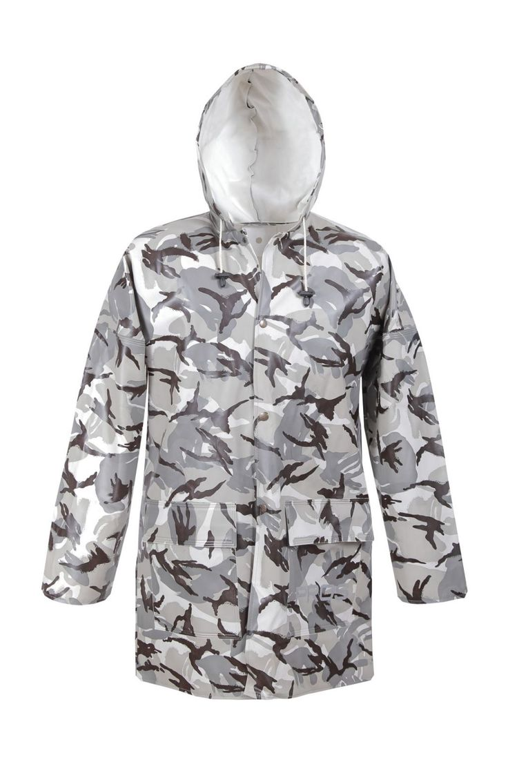 CAMO WATERPROOF JACKET Model: 101/CAM The model is made on Camo colours and offers you camouflage stage. The model fastened with snaps with a hood and 2 welded pockets. The jacket is made of waterproof PVC/cotton fabric. The product is recommended for use under extreme weather conditions, during hunting and fishing activities and also during other outdoor works. The jacket offers you a good protection against rain and wind. Thanks to double welded seams with high frequency current.