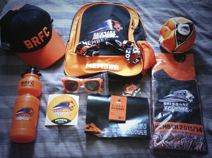 The Brisbane Roar 2013/14 membership pack. Very impressed with this pack containing a snap back cap, drink bottle, sticker, glasses, bag, scarf, keyring, ball and a ticket to a match. Not bad for $60.