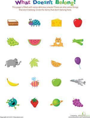 Preschool Sorting & Categorizing Worksheets: What Doesn't Belong?