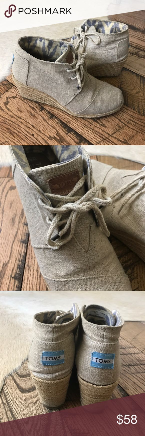 Toms-Desert Wedge in Natural Burlap Sz 8.5 TOMS Desert Wedges in Natural Burlap-this color sold out everywhere online! Extremely comfortable! Very gently used and in great used condition. Size 8.5 TOMS Shoes Wedges