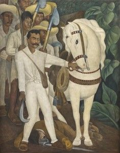 """Agrarian Leader Zapata."" Fresco by Diego Rivera, 1931. This painting is one of many that were displayed in a Museum of Modern Art exhibition in 1940 entitled, ""Twenty Centuries of Mexican Art."" This growing appreciation of South American art is yet another example of the Good Neighbor Policy in action."