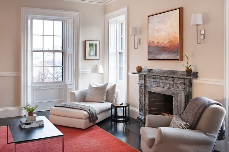boston chaise lounge indoor with midcentury swing arm wall lamps living room contemporary and beige white gray marble fireplace