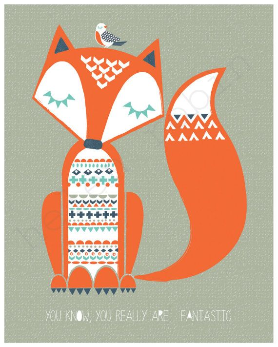 Fantastic Mr Fox Illustration 8x10 Print by helenrobin on Etsy