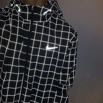 jacket coat mens windbreaker light nike sweater grid black white stripes fluo menswear nike squares black and white bright lines trippy nike jacket…