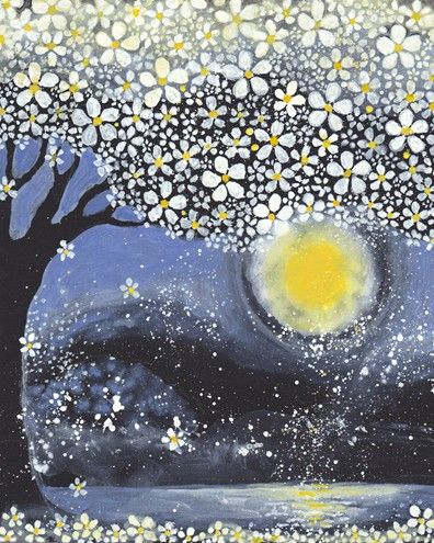 Moon and Cherry Blossoms : Giclee fine art print 8x10 by dove tree studios