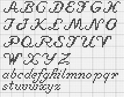 alfabeto corsivo per punto croce alfabeto