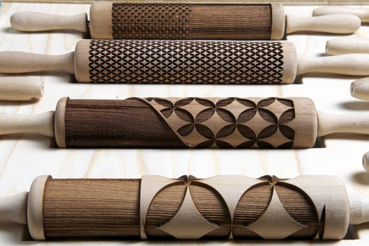 Patterned rolling pins = patterned pastry! Totally need these!