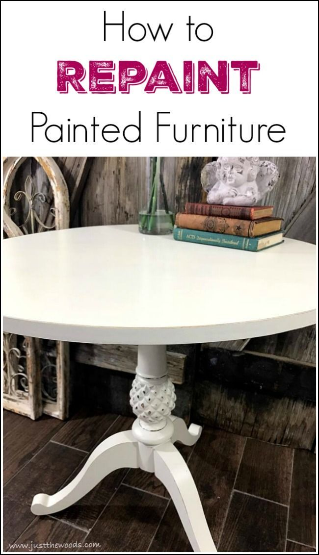 Repainting painted furniture. How to paint over painted wood furniture when your decor or plans change. Repainting over chalk painted table the easy way.