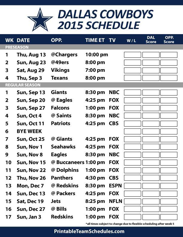 Dallas Cowboys 2015 Schedule. Printable version here: http://printableteamschedules.com/NFL/dallascowboysschedule.php