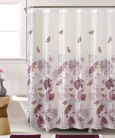 Vcny Home Lily Butterfly Polyester Bath In A Bag Set Shower Curtain And Rugs Included Purple