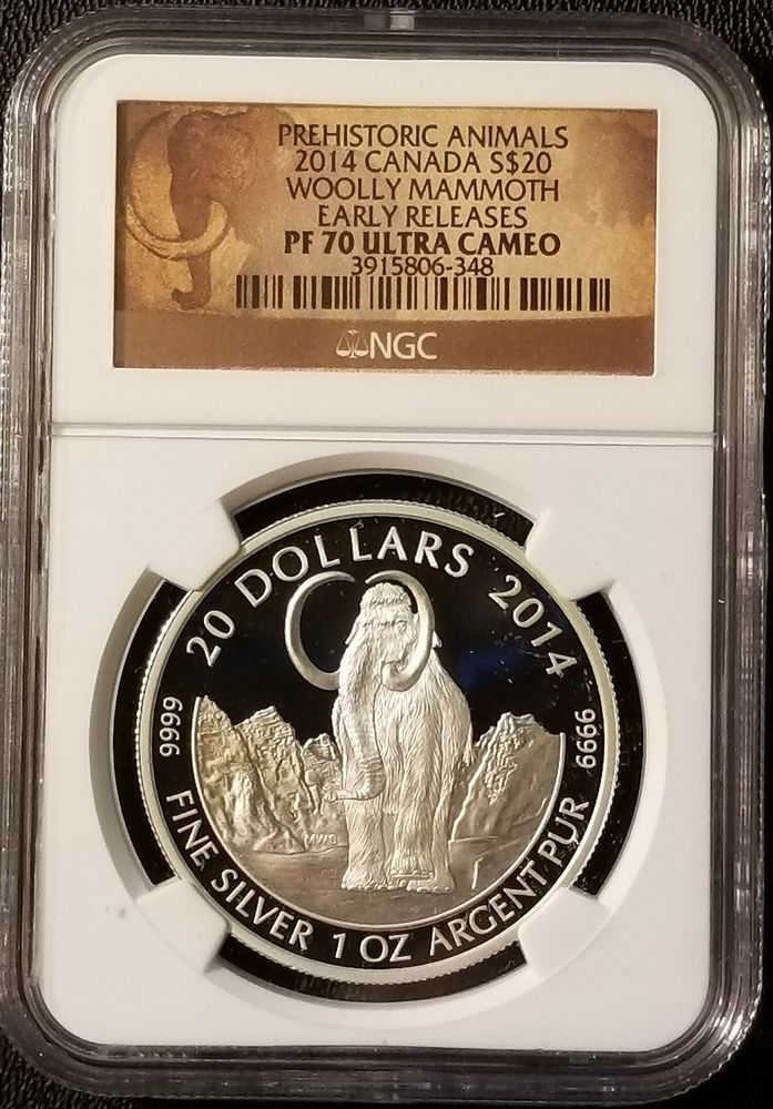 2014 Canada $20 Woolly Mammoth  9999 Fine Silver Bullion NGC