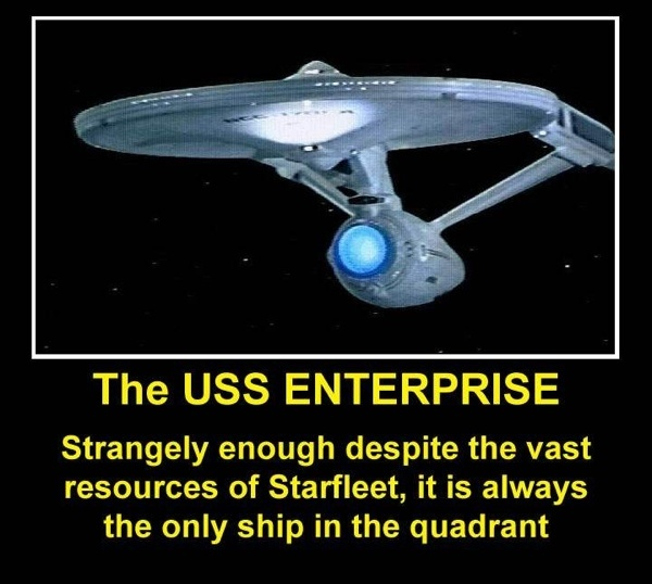 Except that there are only 12 Constellation class starships; other ships exist, but no matter how big the Fleet, the Galaxy's a lot bigger!