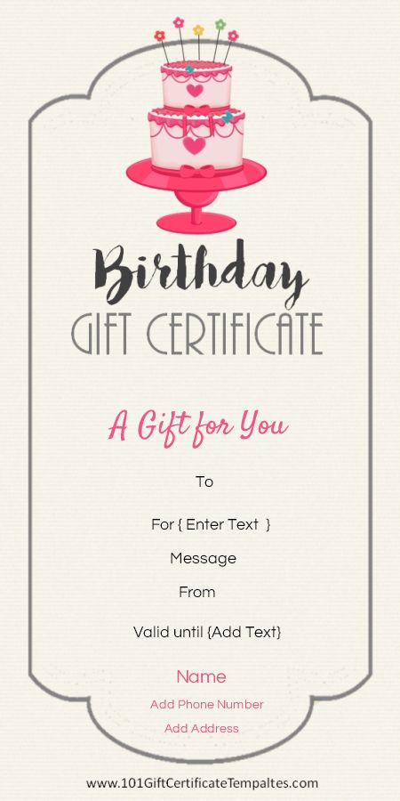 Free Printable Birthday Gift Certificate Template That Can Be Customized  Online With Our Free Certificate Maker And Printed At Home.  Gift Certificate Word Template Free