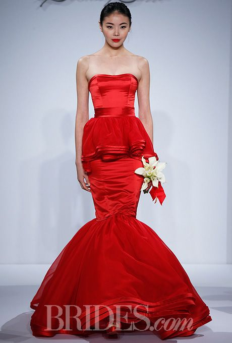 Lovely Brides Dennis Basso for Kleinfeld Spring Jane red strapless silk satin mermaid wedding dress with silk organza satin trimmed peplum and tiered ruffle