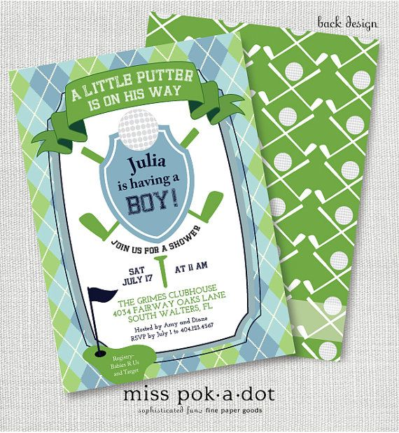golf baby shower sip and see or sprinkle invitation by misspokadot, $15.00