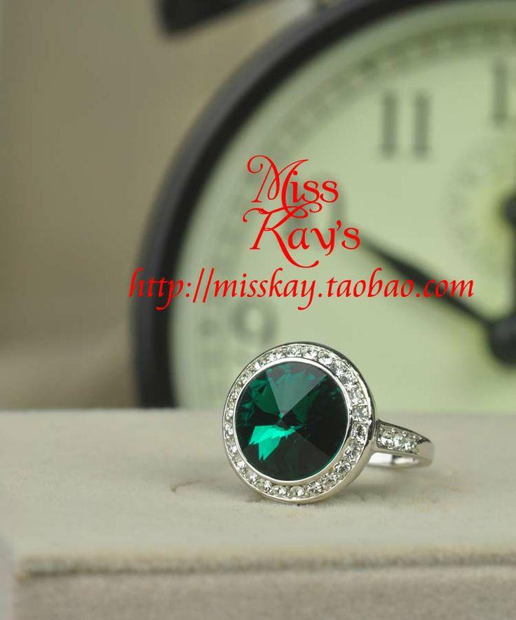hoge kwaliteit sieraden 18k platina smaragd kristallen ring elegante vrouwelijke rijke goedkope sieraden