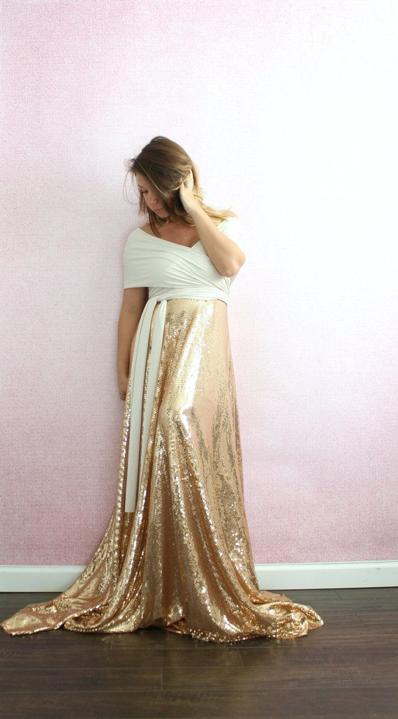 Maternity dress-gold sequin wedding dress full by EmbieBaby
