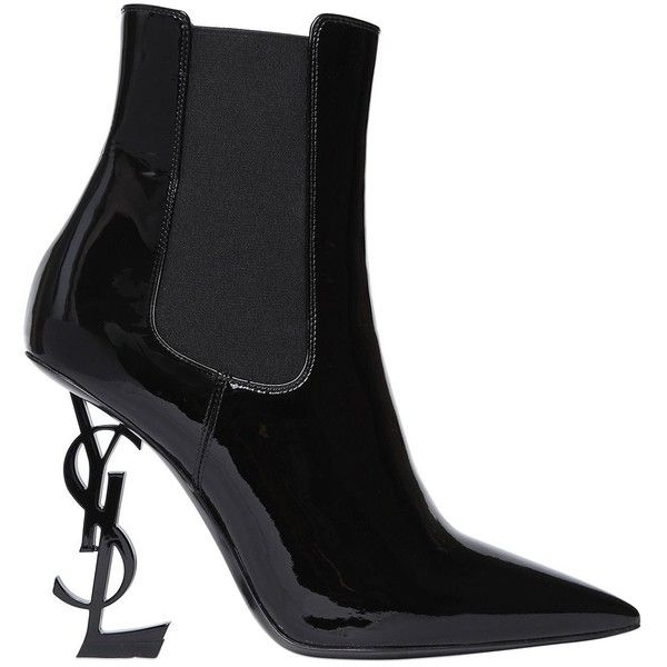 Saint Laurent Women 110mm Opyum Patent Leather Boots ($1,745) ❤ liked on Polyvore featuring shoes, boots, schuhe, yves saint laurent, black, patent leather boots, high heeled footwear, leather sole shoes, black high heel shoes and black high heel boots