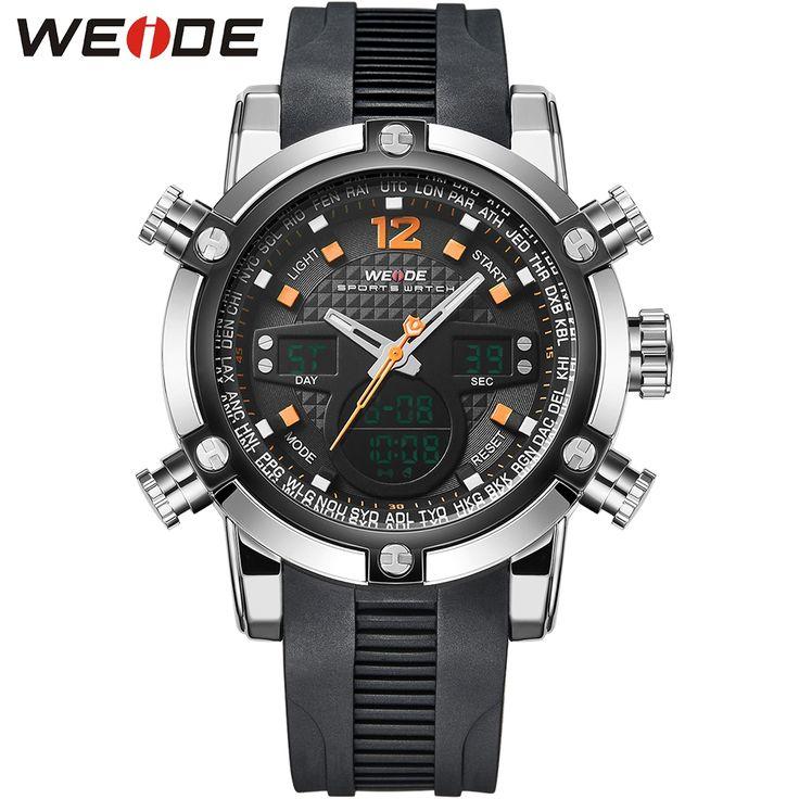 (28.72$)  Know more  - WEIDE Hot Sale Men Silicone Strap Sport Watches Men Luxury Analog LED Analog Digital Wristwatch Quartz Alarm Stopwatch Clock
