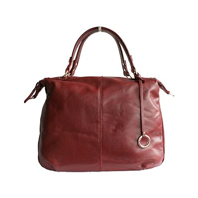 Sandy Italian Burgundy Leather Satchel Handbag - £64.99